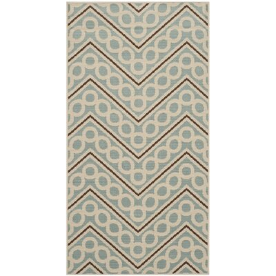 Hampton Light Blue/Ivory Outdoor Area Rug Rug Size: Rectangle 27 x 5
