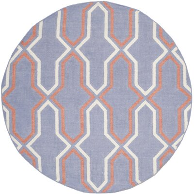 Dhurries Hand-Woven Wool Purple/Tan Area Rug Rug Size: Round 6