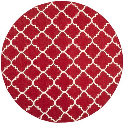 Dhurries Red/Ivory Area Rug Rug Size: Round 4