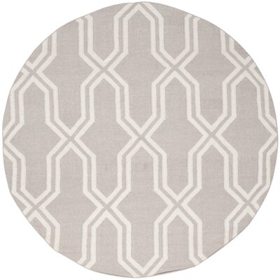 Dhurries Hand-Woven Wool Gray/Ivory Area Rug Rug Size: Round 6