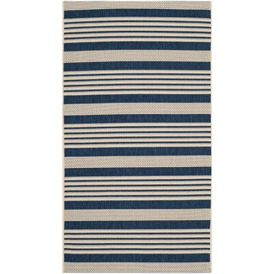 Sophina Navy/Beige Indoor/Outdoor Area Rug Rug Size: Rectangle 2 x 37