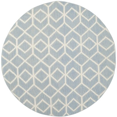 Dhurries Blue & Ivory Area Rug Rug Size: Round 6