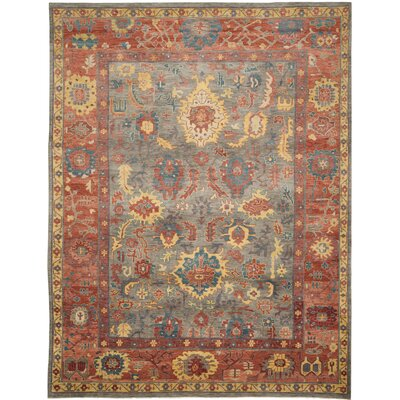 Sultanabad Grey / Red Rug Rug Size: 9 x 12