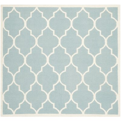 Dhurries Hand-Woven Wool Light Blue/Ivory Area Rug Rug Size: Square 6