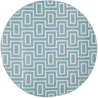 Dhurries Hand-Woven Wool Light Blue Area Rug Rug Size: Round 6