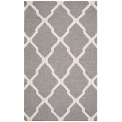 Dhurries Dark Grey/Ivory Area Rug Rug Size: Rectangle 3 x 5