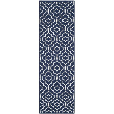 Dhurries Navy / Ivory Geometric Area Rug Rug Size: Runner 26 x 8