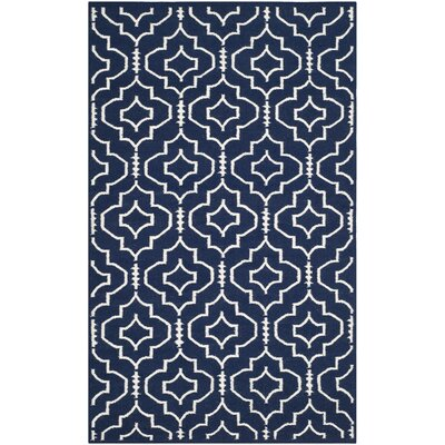 Dhurries Navy / Ivory Geometric Area Rug Rug Size: 5 x 8