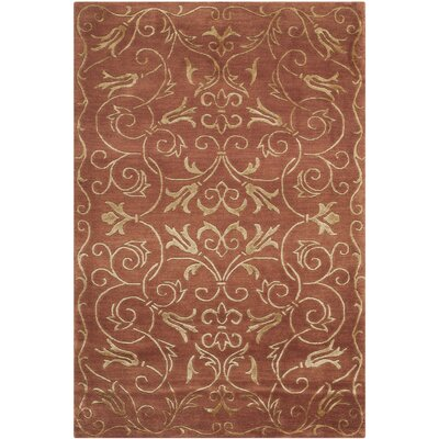 Tibetan Hand-Knotted Rust / Gold Area Rug Rug Size: Rectangle 4 x 6