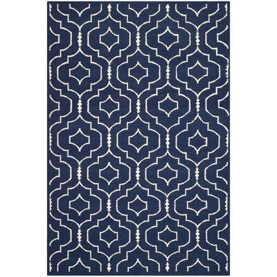Dhurries Navy / Ivory Geometric Area Rug Rug Size: Rectangle 6' x 9'