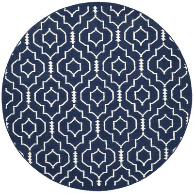Dhurries Navy / Ivory Geometric Area Rug Rug Size: Round 6