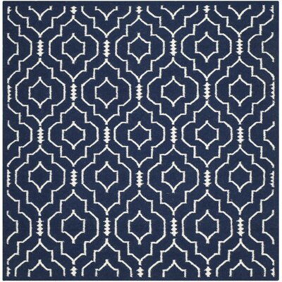 Dhurries Navy / Ivory Geometric Area Rug Rug Size: Square 6
