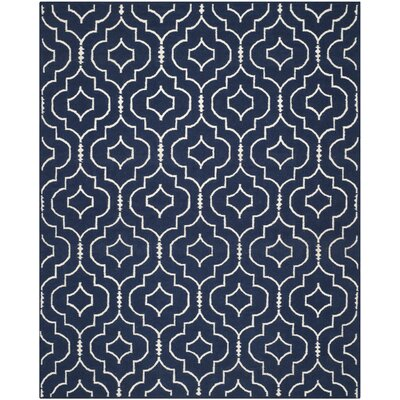 Dhurries Navy / Ivory Geometric Area Rug Rug Size: Rectangle 8' x 10'