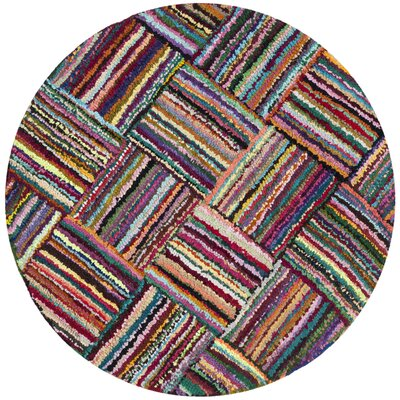 Castro Hand-Tufted Cotton Red/Blue Area Rug Rug Size: Round 8'