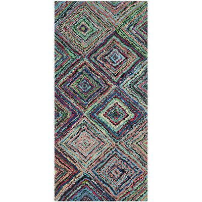 Sergio Hand-Tufted Pink/Green Area Rug Rug Size: Runner 23 x 11