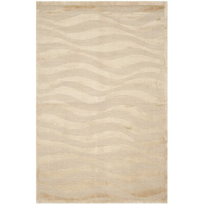 Tibetan Multi Geometric Hand-Knotted Ivory Area Rug Rug Size: Rectangle 4 x 6