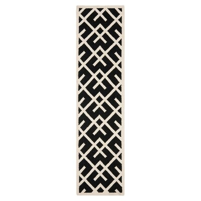 Dhurries Hand-Woven Wool Black/Ivory Area Rug Rug Size: Runner 26 x 10