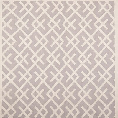Dhurries Hand-Woven Wool Gray/Ivory Area Rug Rug Size: Rectangle 6 x 6