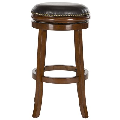 Biagio 30 Swivel Bar Stool Color: Walnut, Upholstery: Brown