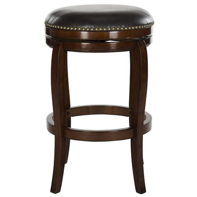 Nuncio 29 Swivel Bar Stool Finish: Espresso, Upholstery: Brown
