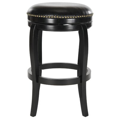 Nuncio 29 inch Swivel Bar Stool Finish: Black, Upholstery: Black