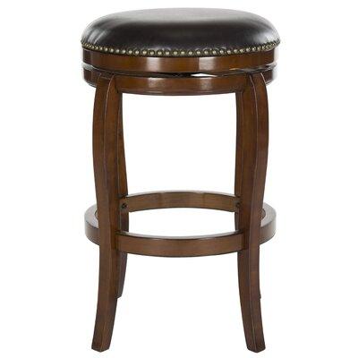Nuncio 29 Swivel Bar Stool Color: Walnut, Upholstery: Brown