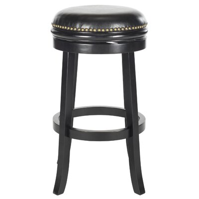 Biagio 30 Swivel Bar Stool Finish: Black, Upholstery: Black