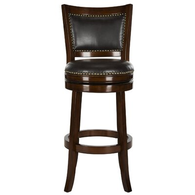 Lazzaro 29 Swivel Bar Stool Color: Espresso, Upholstery: Brown