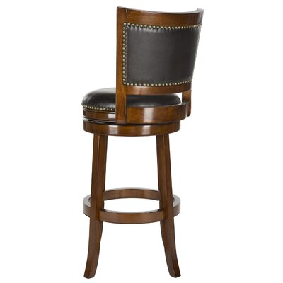 Lazzaro 29 Swivel Bar Stool Color: Walnut, Upholstery: Brown