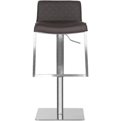 Claudio Adjustable Height Swivel Bar Stool Upholstery: Brown