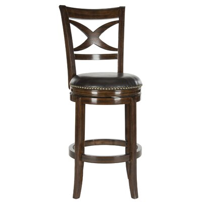 Santino 29 Swivel Bar Stool Color: Espresso, Upholstery: Brown