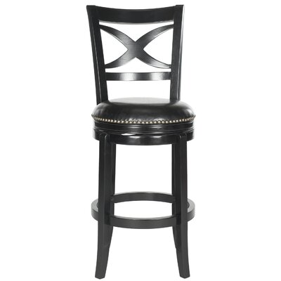 Santino 29 Swivel Bar Stool Finish: Black, Upholstery: Black
