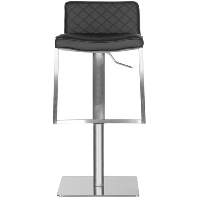 Claudio Adjustable Height Swivel Bar Stool Upholstery: Black