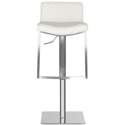 Claudio Adjustable Height Swivel Bar Stool Upholstery: White