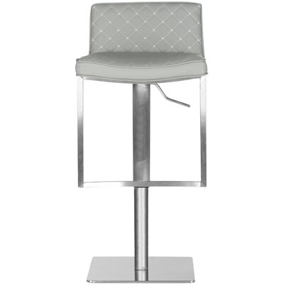 Claudio Adjustable Height Swivel Bar Stool Upholstery: Grey