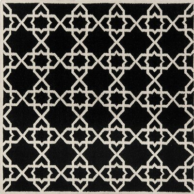 Dhurries Black Area Rug Rug Size: Square 6 x 6