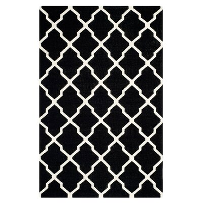 Dhurries Black/Ivory Area Rug Rug Size: Rectangle 6 x 9