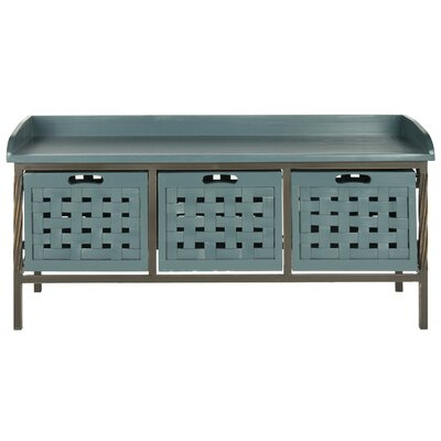 Isaac Wooden Storage Entryway Bench Color: Slate Teal