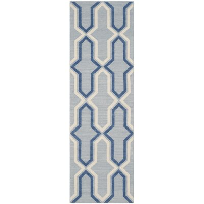 Dhurries Blue Contemporary Area Rug Rug Size: Runner 2'6