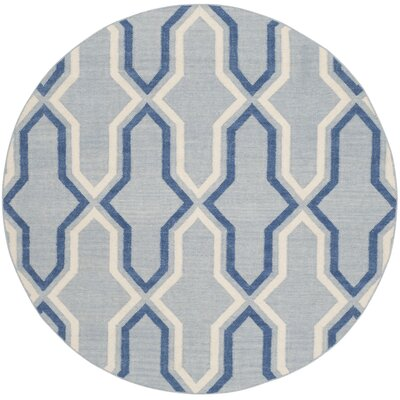 Dhurries Blue Contemporary Area Rug Rug Size: Round 6