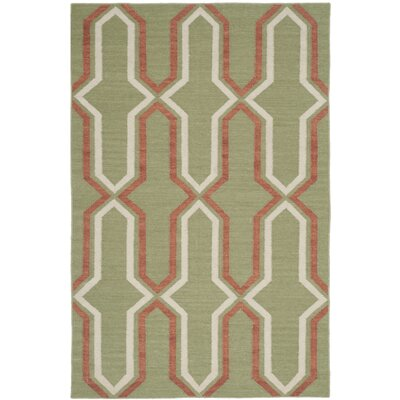 Dhurries Hand-Woven Green/Orange Contemporary Area Rug Rug Size: Rectangle 26 x 4
