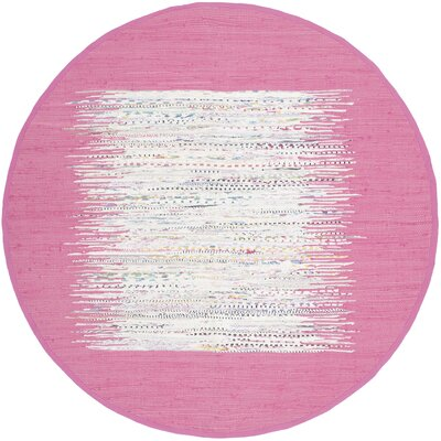 Static Hand-Woven Wool Pink/White Area Rug Rug Size: Round 6