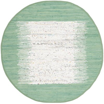 Milia Hand-Woven Ivory/Sea Green Area Rug Rug Size: Round 6