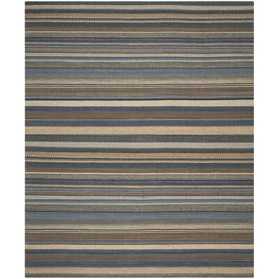Kilim Hand-Tufted Wool Blue Area Rug Rug Size: Rectangle 5 x 8
