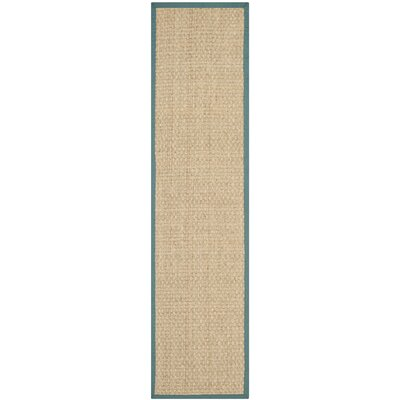 Richmond Natural/Light Blue Indoor Area Rug Rug Size: Runner 26 x 12