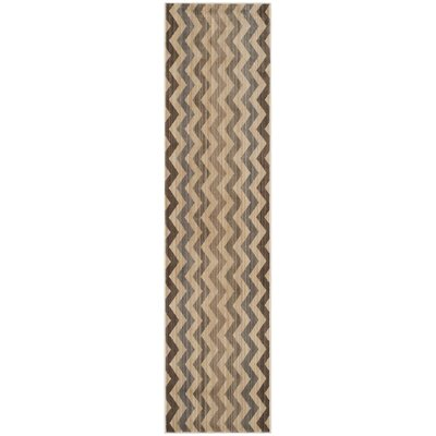 Infinity Brown/Grey Chevron Area Rug Rug Size: Runner 2 x 8