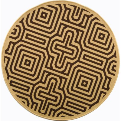 Courtyard Natural & Brown Outdoor Area Rug Rug Size: Round 6'7