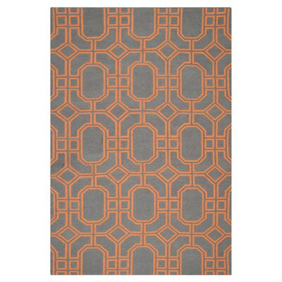 Dhurries Blue/Orange Area Rug Rug Size: 5 x 8