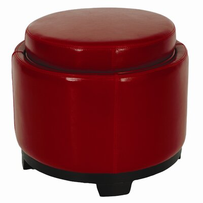 Round Leather Cocktail Ottoman Upholstery: Red