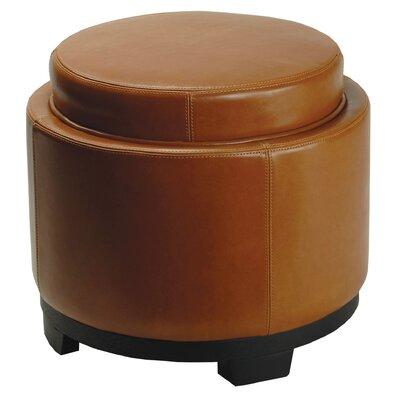Round Leather Cocktail Ottoman Upholstery: Saddle